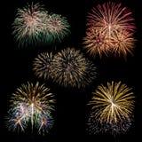 Insieme dei fuochi d'artificio isolati sul nero Immagine Stock