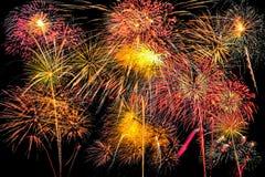 insieme dei fuochi d'artificio su fondo nero con il percorso di ritaglio immagini stock libere da diritti