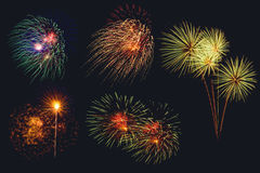 Insieme dei fuochi d'artificio variopinti sul nero Immagini Stock Libere da Diritti