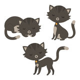 Insieme dei gatti divertenti del fumetto Fotografia Stock