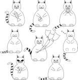 Insieme dei gatti divertenti e grassi Fotografia Stock