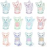 Insieme dei gatti in modo divertente del fumetto Immagini Stock Libere da Diritti