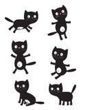 Insieme dei gatti neri Immagini Stock