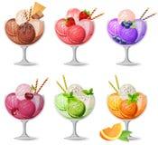 Insieme dei gelati realistici su bianco Immagine Stock