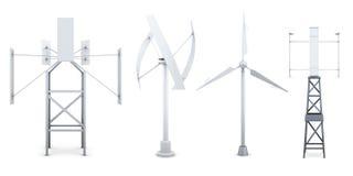 Insieme dei generatori di elettricità del vento Fonti alternative di energ Fotografia Stock