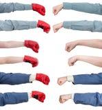Insieme dei gesti di mano - perforazione isolata su bianco Immagini Stock Libere da Diritti