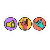 Insieme dei gesti di mano Thunb su, roccia sopra, appende liberamente Fotografia Stock