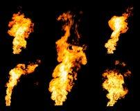 Insieme dei getti ardenti del fuoco delle accensioni di gas e delle fiamme d'ardore Immagine Stock Libera da Diritti