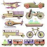 Insieme dei giocattoli di legno del trasporto Fotografia Stock