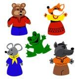 Insieme dei giocattoli divertenti degli animali Fotografia Stock Libera da Diritti