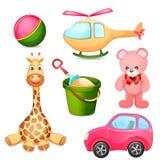 Insieme dei giocattoli isolati su bianco Fotografia Stock Libera da Diritti