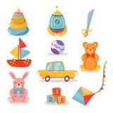 Insieme dei giocattoli per i bambini nel retro stile royalty illustrazione gratis