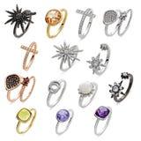 Insieme dei gioielli degli anelli Fotografia Stock