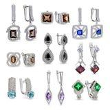 Insieme dei gioielli degli orecchini Fotografie Stock Libere da Diritti