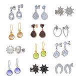 Insieme dei gioielli degli orecchini Fotografia Stock Libera da Diritti