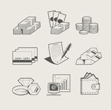 Insieme dei gioielli e dei soldi dell'icona Immagine Stock