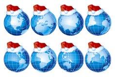 Insieme dei globi con la decorazione di natale Fotografia Stock Libera da Diritti