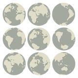 Insieme dei globi di vettore Immagine Stock Libera da Diritti
