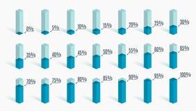 Insieme dei grafici blu di percentuale per il infographics, 0 5 10 15 20 25 30 35 40 45 50 55 60 65 70 75 80 85 90 95 100 per cen Fotografia Stock