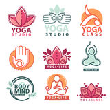 Insieme dei grafici di meditazione e di yoga e dei simboli di logo Immagini Stock Libere da Diritti
