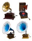 Insieme dei grammofoni dell'annata Fotografia Stock