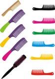 Insieme dei hairbrushes Fotografie Stock Libere da Diritti