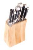 Insieme dei knifes della cucina isolati su bianco Fotografie Stock