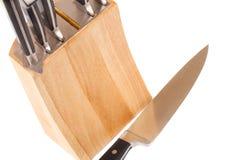 Insieme dei knifes della cucina isolati su bianco Fotografia Stock Libera da Diritti