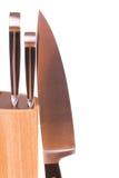Insieme dei knifes della cucina isolati su bianco Immagini Stock Libere da Diritti