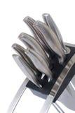 Insieme dei knifes della cucina isolati su bianco Immagini Stock
