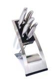 Insieme dei knifes della cucina isolati su bianco Immagine Stock Libera da Diritti