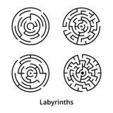 Insieme dei labirinti rotondi semplici con l'entrata e l'uscita Immagini Stock