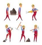 Insieme dei lavoratori Minatori nelle pose differenti di azione royalty illustrazione gratis
