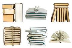 Insieme dei libri isolati su fondo bianco Immagini Stock