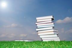 Insieme dei libri su un'erba verde Fotografie Stock Libere da Diritti