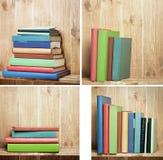 Insieme dei libri sullo scaffale per libri marrone Fotografia Stock