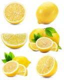 Insieme dei limoni isolati sui precedenti bianchi Immagini Stock