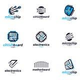 Insieme dei logotypes dell'estratto di schema del microprocessore Scheda madre cibernetica futuristica di vettore royalty illustrazione gratis