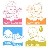 Insieme dei logotypes per i prodotti di cura del bambino Immagini Stock Libere da Diritti