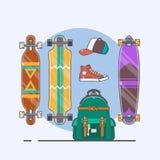 Insieme dei longboards e pattini di varie forme Disegno a tratteggio Illustrazione di vettore Fotografie Stock Libere da Diritti