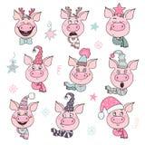 Insieme dei maiali svegli con le emozioni di gioia e di felicità royalty illustrazione gratis