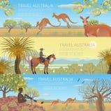 Insieme dei manifesti australiani di viaggio illustrazione di stock
