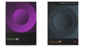 Insieme dei manifesti con forma semplice nello stile di bauhaus Progettazione della copertura con arte geometrica moderna Arte di illustrazione di stock