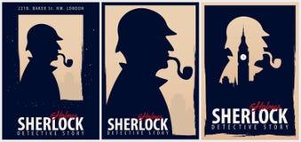 Insieme dei manifesti di Sherlock Holmes Illustrazione dell'agente investigativo Illustrazione con Sherlock Holmes Via 221B del p illustrazione vettoriale