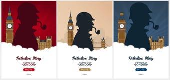 Insieme dei manifesti di Sherlock Holmes Illustrazione dell'agente investigativo Illustrazione con Sherlock Holmes Via 221B del p royalty illustrazione gratis