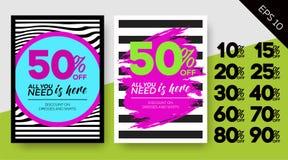 Insieme dei manifesti di vendita della primavera Ambiti di provenienza a strisce di vettore PA della zebra Royalty Illustrazione gratis