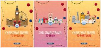 Insieme dei manifesti di viaggio di Natale in Inghilterra, Spagna, Portogallo Neve e rocce della barca Illustrazione di vettore royalty illustrazione gratis