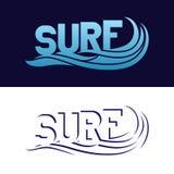 Insieme dei manifesti praticanti il surfing di tipografia Logo della spuma Immagini Stock