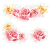 Insieme dei mazzi rosa del fiore dell'acquerello Fotografia Stock