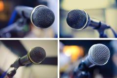 Insieme dei microfoni Fotografie Stock Libere da Diritti